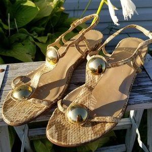 Stuart Weitzman Leather Gold snakeskin thong flats